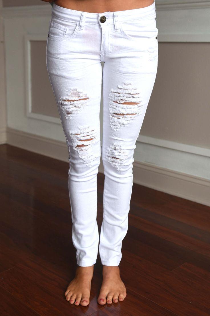 White Distressed Denim Jeans – The Pulse Boutique