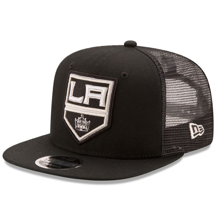 Los Angeles Kings New Era Trucker Patched Snapback 9FIFTY Adjustable Hat - Black