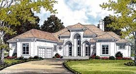 Move Garage to L side.  Enter Kitchen where Pantry is.  Add another Garage & Side Entry. MBR Hidden & good size.  Make Mechanical Room into Media & Storage.  Elevator moves Storage from Basement.   Elevation of European   Mediterranean   House Plan 85585