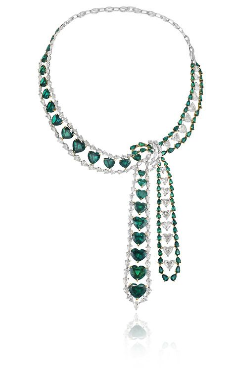 Chopard Red Carpet Collection Emerald Necklace. I'm not a big heart person, but I enjoy the styling of the wrap necklace.