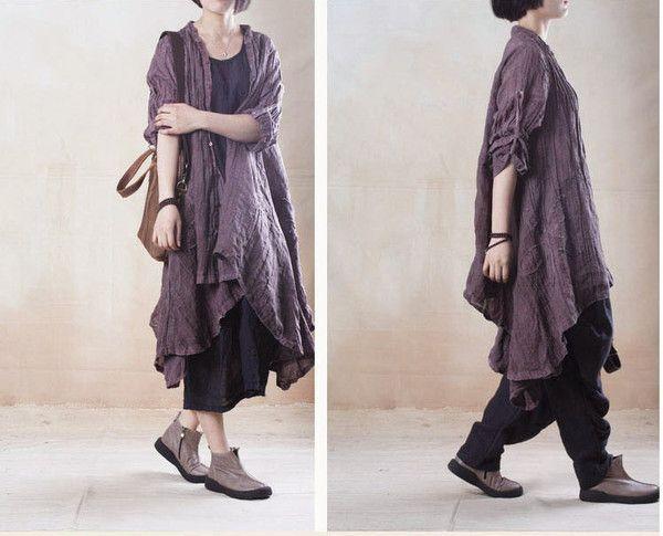 women linen loose shirt dress- Buykud -