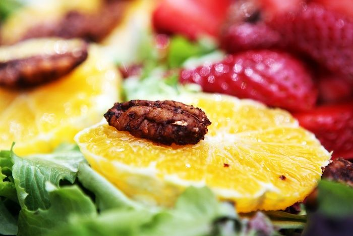 Mixed Greens Salad with Spicy Pecans & Tangy Fruit with Maple Balsamic ...