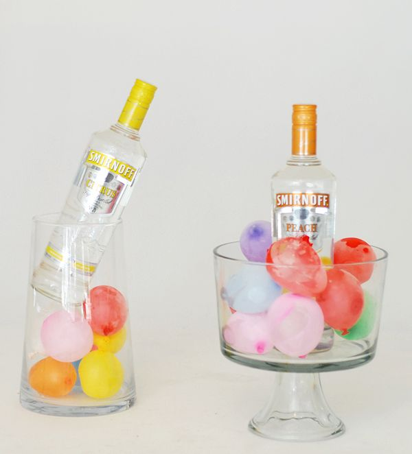 seriously?? great idea!! keep drinks cold and looking festive with frozen water balloons.