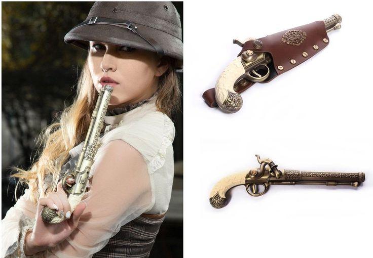 RQ-BL Steampunk Feuerzeug Vintage Waffe & Holster Pistole Gothic LARP Gun GM01