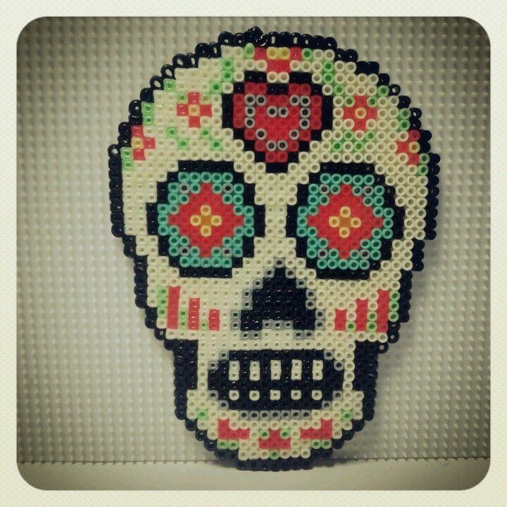 Sugar skull hama beads by olaibombai