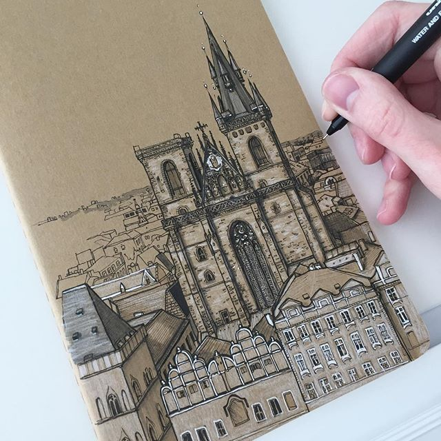 Carrying on with Prague today #art #drawing #pen #sketch #illustration #linedrawing #prague #czechrepublic #architecture #church #city #moleskine