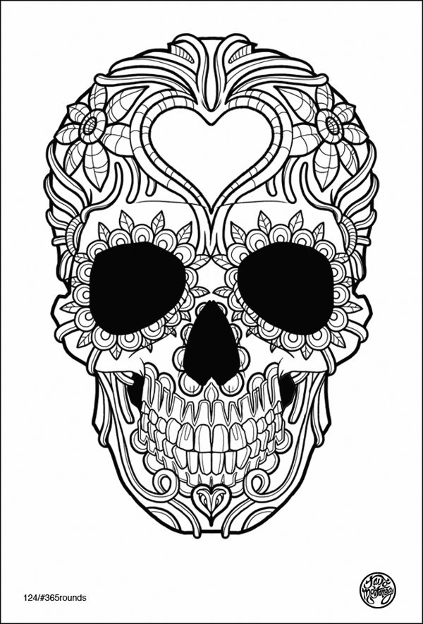 rounds may by tavo montaez via behance black and white skull doodle