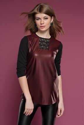 Ruj by Sln - Bordo Bluz 06811 Trendyol da