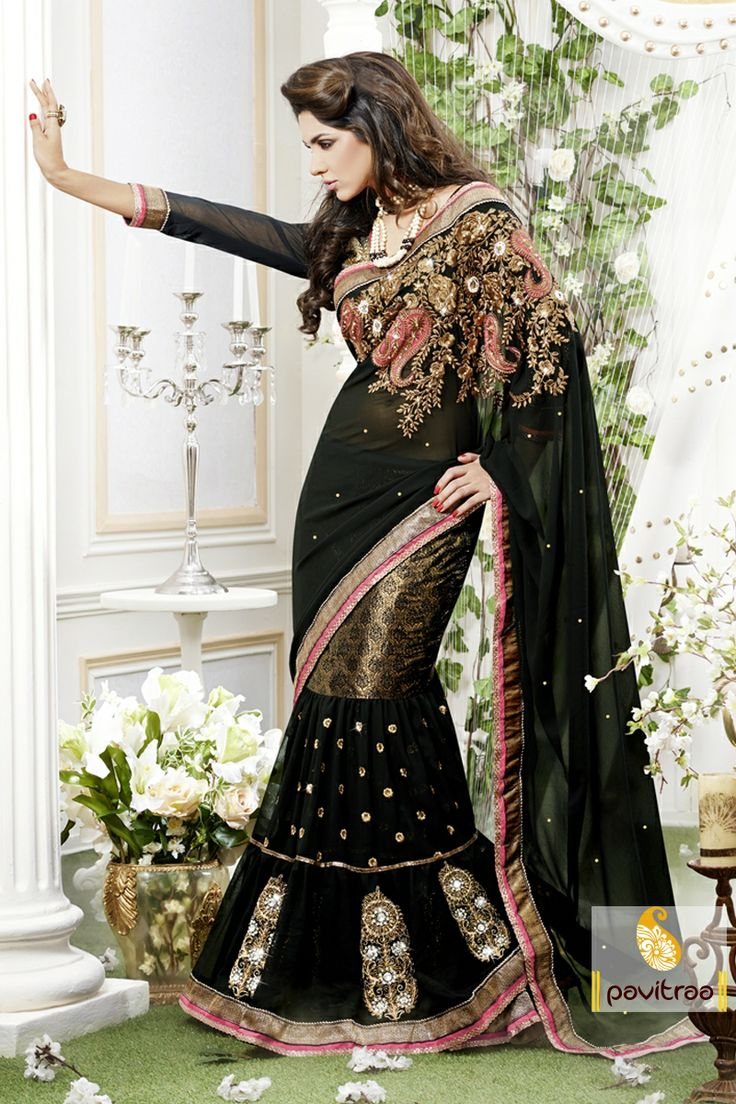 Pavitraa Royal Black Designer lahenga Saree crafted with natural work more..