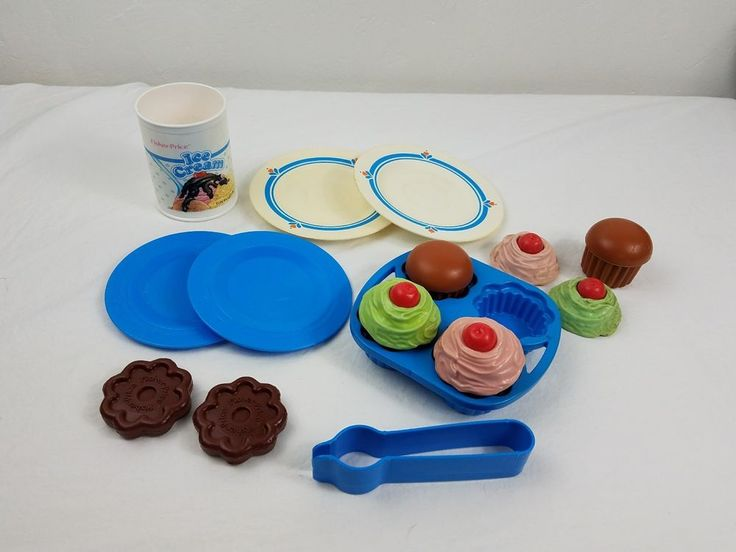 vtg fisher price Fun with Food cupcakes cookies and ice cream play food #FisherPrice