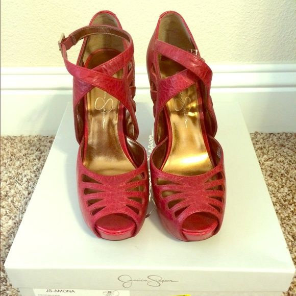 Jessica Simpson Pumps Size 7.5 Cherry red pumps. In good condition, have a few scratches from normal wear. Basically brand new and come with original box. Jessica Simpson Shoes Heels