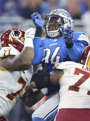 Redskins vs. Lions;   -   October 23, 2016  -  20-17, Lions  -     Lions defensive end Ziggy Ansah rushes against the Washington Redskins in the first half Oct. 23, 2016 at Ford Field in Detroit.  Kirthmon F. Dozier, DFP