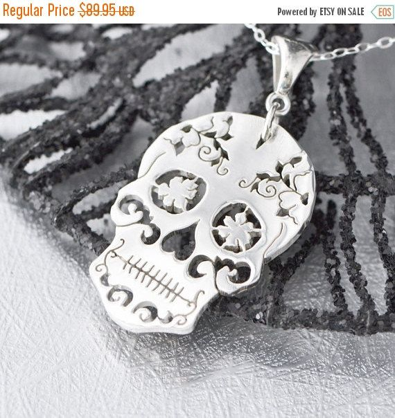 End of Summer Sale Sterling Silver Sugar Skull Pendant Sugar Skull Jewelry Sugar Skull Necklace Halloween Jewelry Day of the Dead