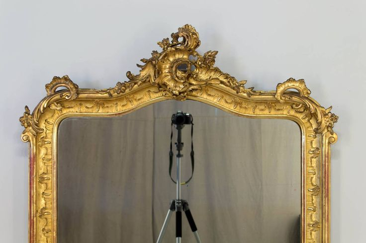 19th c. French Louis XV Style Gilded Mirror at 1stdibs