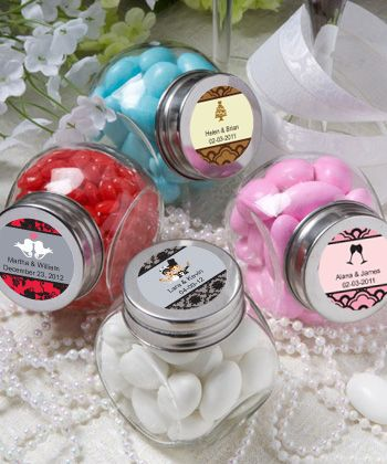 Mini candy jars for m's, personalized lid included in price. 1.11 each from Nice Price Favors