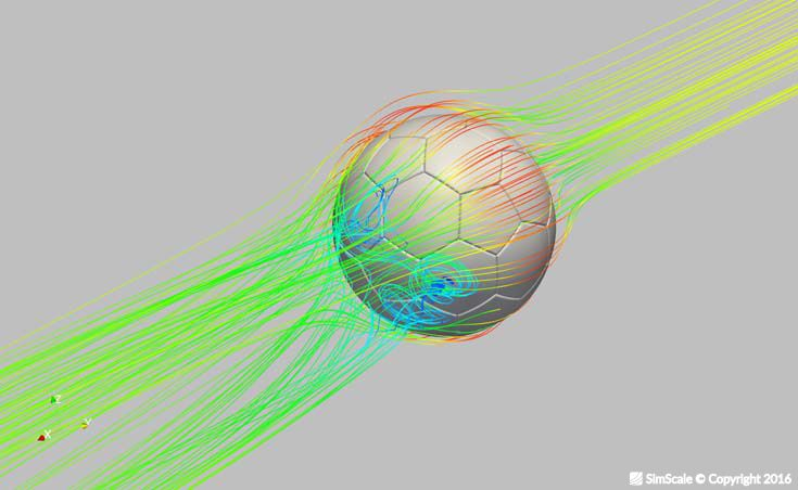 Air flow simulation around a football focusing on the effects of the pattern on the surface