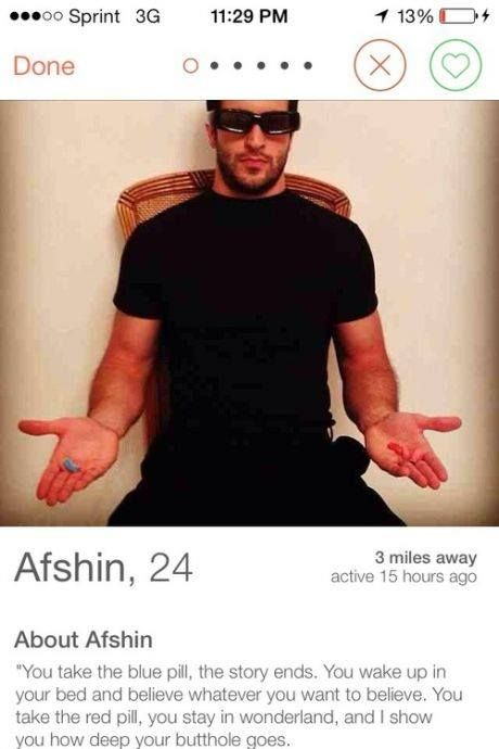 Tinder Legend Does His Best Morpheus Impression With The Red And Blue Pills (Photo). He def wins Tinder.
