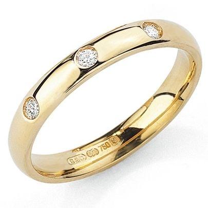 Beautiful 18ct Gold 3 Diamond Court Wedding Ring £625.00 #wedding #diamonds