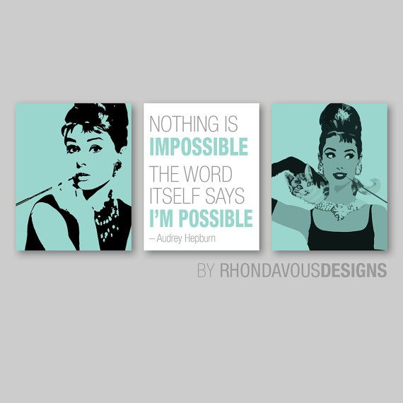 Breakfast at Tiffany's Audrey Hepburn Print Trio - Home Wall Art Bedroom Nursery Girl Decor. - You Pick the Size  Colors (NS-533) on Etsy, 15,15€