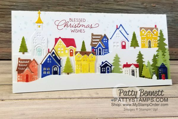 I was thrilled to see how nicely the Stampin' Blends markers color on Stampin' Up! Whisper White cardstock, so I decided to just color an entire village for this Christmas card using the Hometown Gre