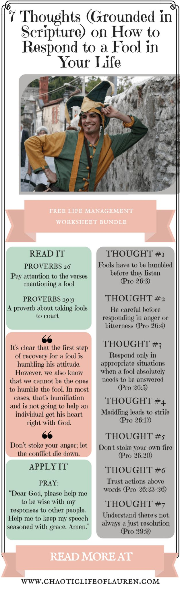 How do we respond to a fool in our life?   Christian Lifestyle   Biblical Womanhood   Devotional   Finding Balance   Chaotic Life   Managing Relationships   Foolishness   Wisdom