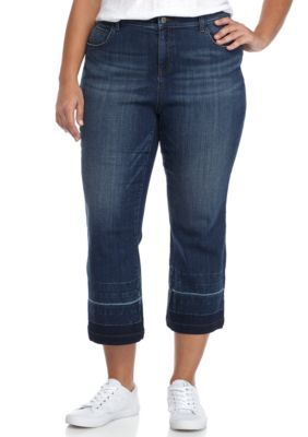Crown & Ivy™ Women's Plus Size Denim Release Hem Culotte - Dark Wash - 24W