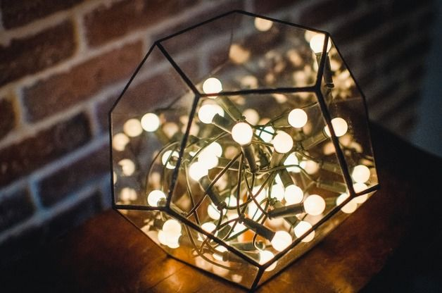 Dodecahedron stained glass - glass polyhedron, which fits perfectly into the modern home interior. Can be used as a vase for succulents, flowers, candle holder or dekor.  This shape is...