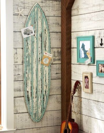 For my ...one day...beach cottage: Beaches Rooms, Beaches House, Pin Boards, Surfing Boards, Surfboard, Boys Rooms, Wall Decoration, Beaches Themed, Beaches Bedrooms