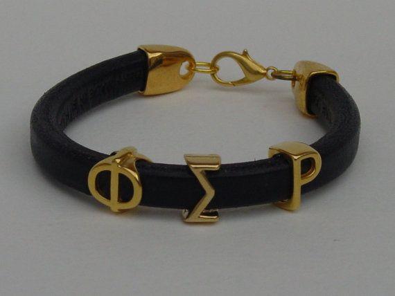 Phi Sigma Rho Greek Leather Bracelet Ladies by LindosArt on Etsy