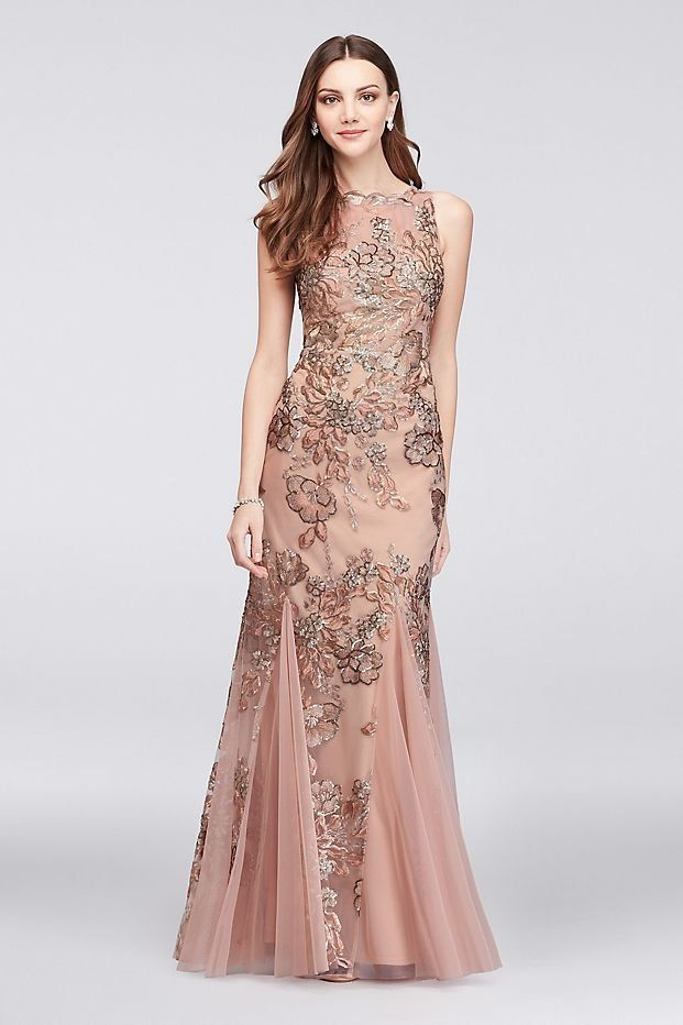 9f9bfc27c69 Embroidered Floral Sequin Mesh Mermaid Gown