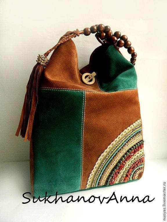 """Купить Сумка """"Лесной орех"""" - замшевая сумка, Сумка с вышивкой, этническая сумка, сумка комбинированная"""