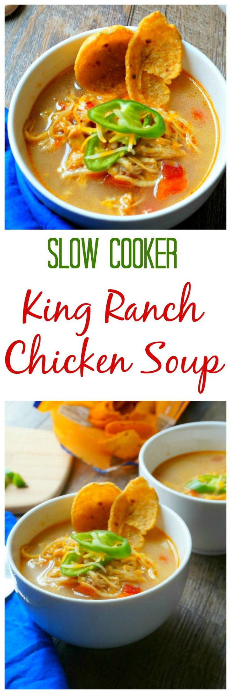 Slow Cooker King Ranch Chicken Soup: The slow cooker works its magic to create a creamy, spicy, and hearty Tex-Mex chicken soup.