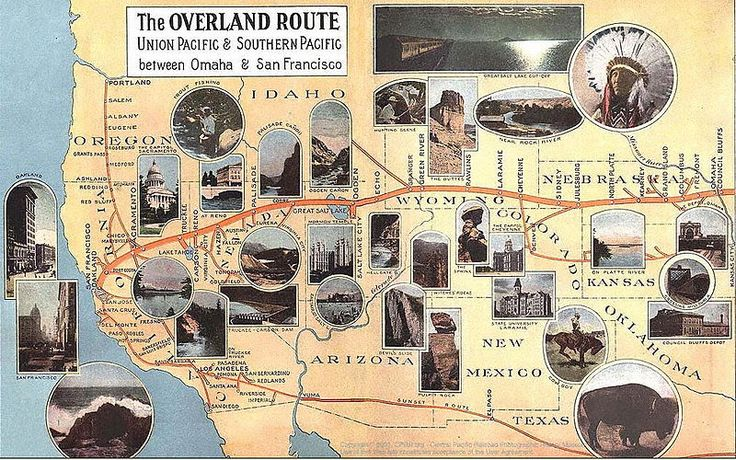 The Overland Route 1908 Map - Overland Limited (UP train ...