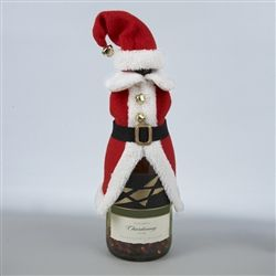 Add a bit of playful style to your Christmas decorating this season with thus fun Santa outfit set for a wine bottle.  The Santa suit just slips over the neck of any shaped wine bottle,  while the matching hat sits on top.