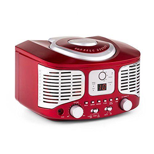 auna RCD320 minicadena retro (sistema estéreo compacto estilo retro, reproductor de CD, entrada AUX para MP3 y Smartphones, radio FM, altavoces incorporados) – rojo