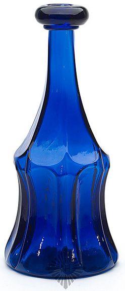 Bar Bottle; Pittsburg Glass?, Mold Blown, 6 Depressed Panels, Cobalt, 10 inch.