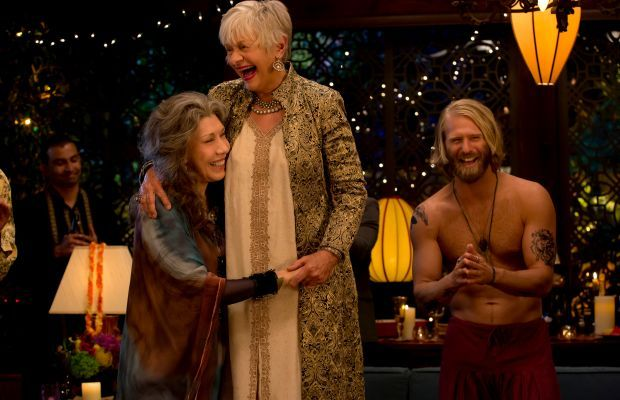 """""""Frankie brought it,"""" says Fanger. """"Frankie went full-on and a more beautiful Frankie look that I think was very aligned with what she would wear to anything she thought was a fashionable, special moment. A special occasion."""" Frankie (Lily Tomlin), Babe (Estelle Parsons) and a shirtless friend. Photo: Netflix"""