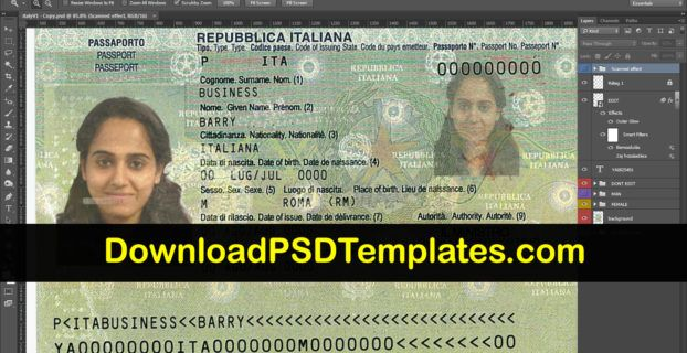 Italian Passport Template Psd Free Passport Template Psd Template Free Passport