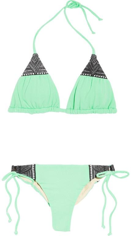 Mara Hoffman Embroidered Triangle Bikini in Green: Mint Green, Mara Hoffman, Swimsuits, Mint Bikini, Triangles Bikinis, Bath Suits, Embroidered Triangles, Tribal Prints, Swim Suits