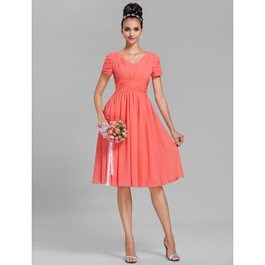 Knee-length Chiffon Bridesmaid Dress - Watermelon / Royal Blue / Ruby / Champagne / Grape Plus Sizes / Petite Sheath/Column V-neck – USD $ 49.99