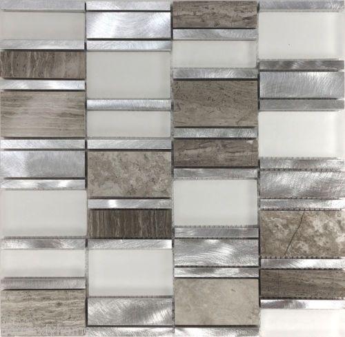 Kitchen Backsplash Natural Stone: 1SF Gray Metal Glass Natural Stone Blend Mosaic Tile