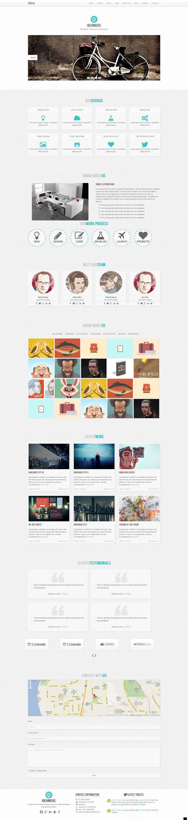 Ideanosse - Responsive One Page WordPress Theme by Zizaza - design ocean , via Behance
