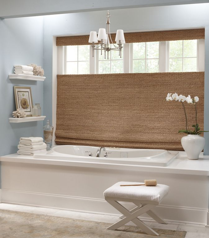 shades bathroom furniture uk%0A Woven wood shades give this beautiful bathroom a clean spa look  Just pour  in some bubble bath and relax