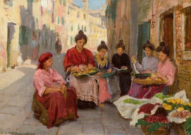 Girls Threading Beads  by Woodbine Kendall Hinchliff
