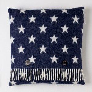 Motif Cushion Star Navy White #wool #stars #countryliving
