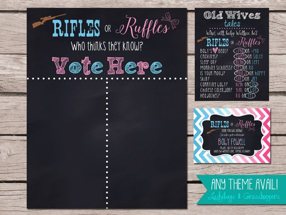 Gender Reveal Cast Your Vote RIFLES OR RUFFLES Hunting Announcement Chalkboard Poster Digital 4 size available Baby Shower Wives Tale Invite