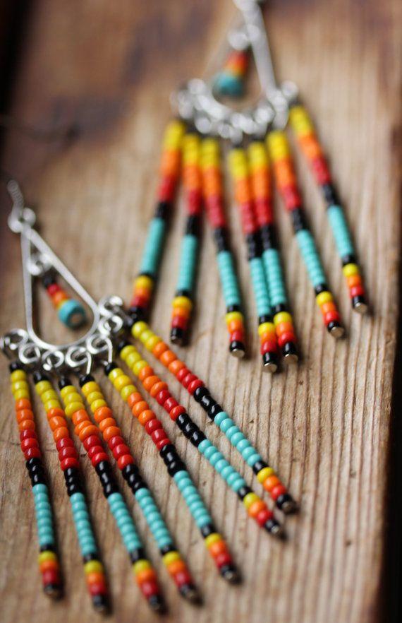 Sunset // Summer Seed Bead Earrings // Black by bytherockandweed, $22.00