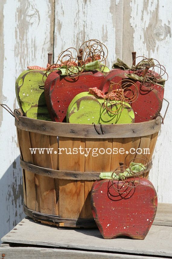Apple Decor Fall Decor Primitive Apple Teacher by therustygoose