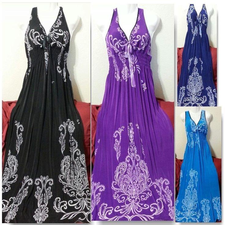 Maxi Sundresses for Women   Women Long Maxi Summer Beach Hawaiian Boho Evening Sundress 14 16 18 ...