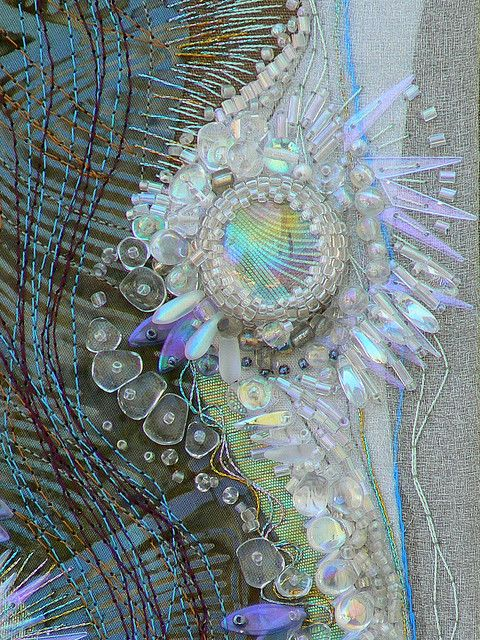 Beautiful use of beads and stitches to create texture simply, but intricately.